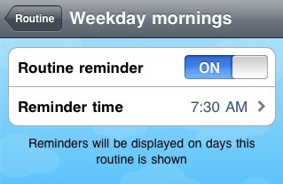 Routine reminder settings